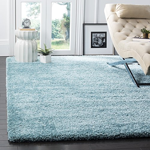 Safavieh Milan Shag Collection SG180-6060 2-inch Thick Area Rug, 5' 1' x 8', Aqua Blue